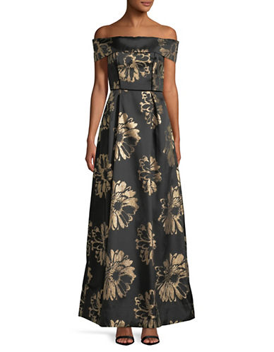 Nicole Miller New York Off-The-Shoulder Floral Brocade Dress-BLACK-2
