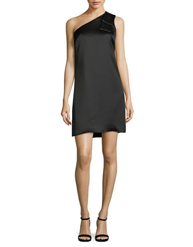 Nicole Miller New York Crepe Bow One-Shoulder Dress-BLACK-4