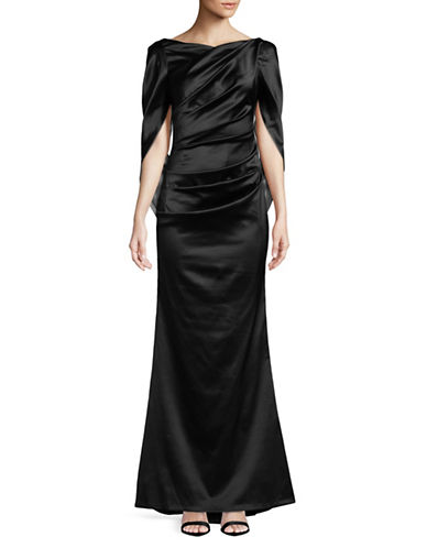 Nicole Miller New York Drape Back Floor-Length Gown-BLACK-4