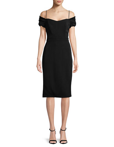 Nicole Miller New York Cold-Shoulder Shift Dress-BLACK-8
