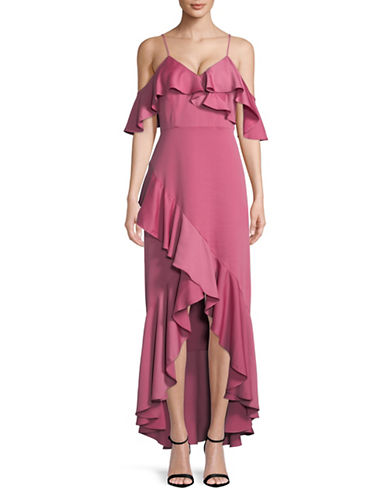 Nicole Miller New York Ruffled Cold-Shoulder Gown-PINK-8