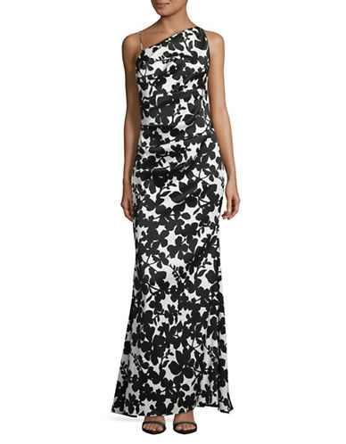 Nicole Miller New York Floral One-Shoulder Gown-BLACK/WHITE-10