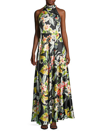 Tropical Floral Halter Maxi Dress by Nicole Miller New York