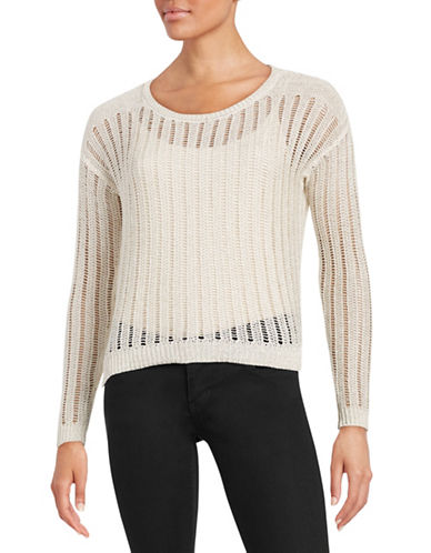 Dkny Jeans Metallic Crocheted Sweater-WHITE-X-Small