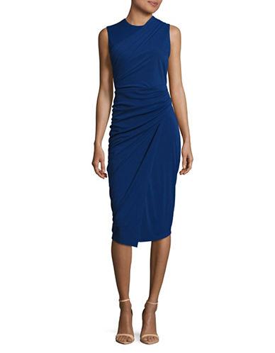 Dkny Asymmetric Drape Jersey Dress-INDIGO-4