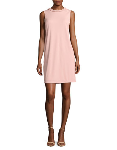 Dkny Sleeveless Braided Neck Sheath Dress-PALE ROSE-2