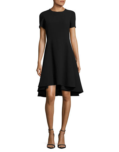 Dkny Short Sleeve Fit-and-Flare Dress-BLACK-8
