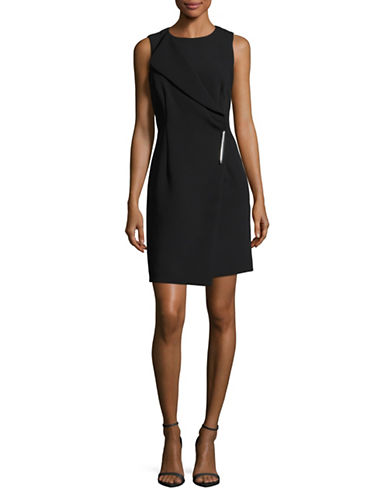 Dkny Asymmetrical Lapel Sheath Dress-BLACK-8