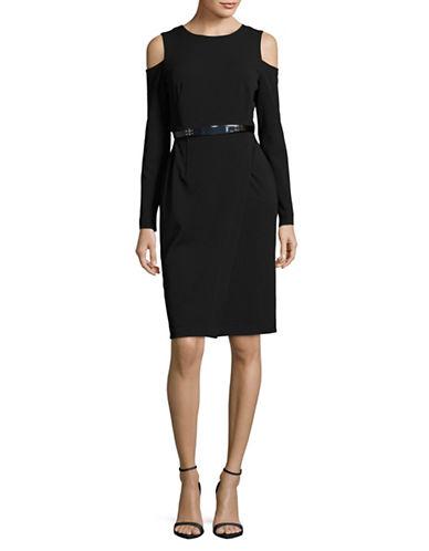 Dkny Long Sleeve Cold-Shoulder Wrap Dress-BLACK-8