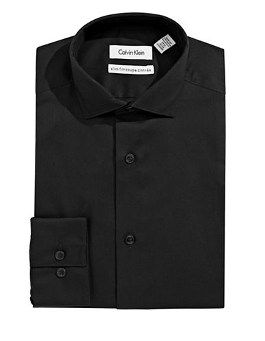 Calvin Klein Slim Fit Dress Shirt-BLACK-17.5-32/33