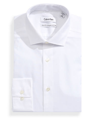 Calvin Klein Slim Textured Dress Shirt-WHITE-16.5-32/33