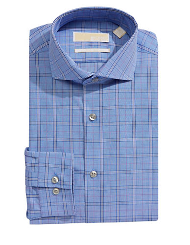 Michael Michael Kors Slim-Fit Plaid Dress Shirt-BLUE VELVET-14-32/33