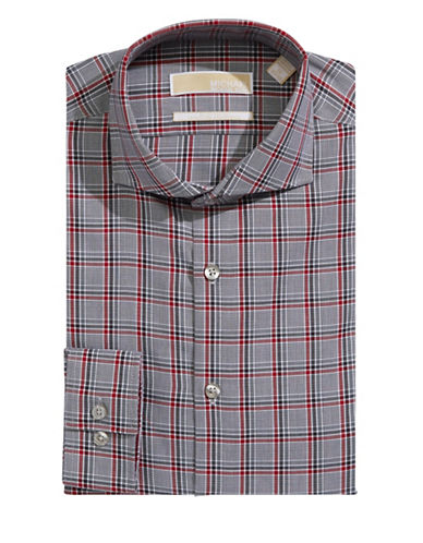 Michael Michael Kors Newspaper Plaid Dress Shirt-SMOKE-14.5-32/33