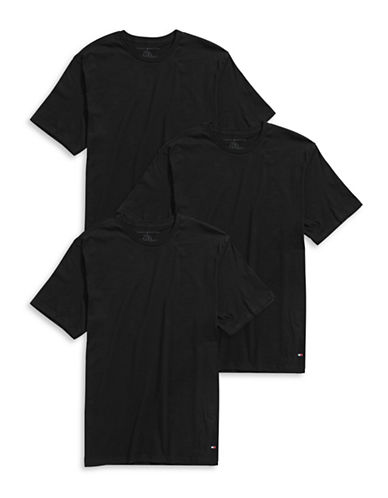 Tommy Hilfiger Three-Pack Crew Neck T-Shirts-BLACK-X-Large