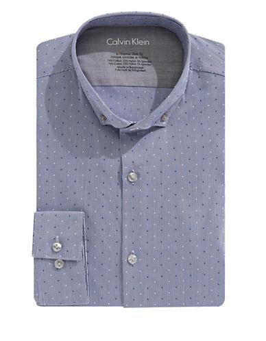 Calvin Klein Slim Fit Cotton Micro Check Shirt-CADET BLUE-17.5-32/33