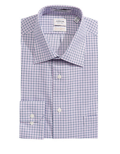 Arrow Checked Classic Fit Dress Shirt-PURPLE MULTI-16-34/35