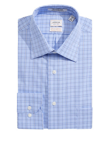 Arrow Classic Fit Checked Dress Shirt-COBALT-14.5-32/33