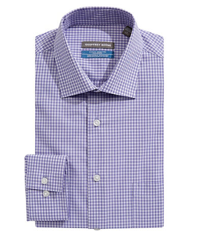 Geoffrey Beene Long Sleeve Regular Fit  Broadcloth Shirt-SIBER PURPLE-17.5-32/33
