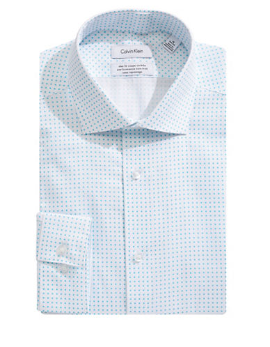Calvin Klein Steel Slim-Fit Square Dot Dress Shirt-BLUE-18.5-34/35