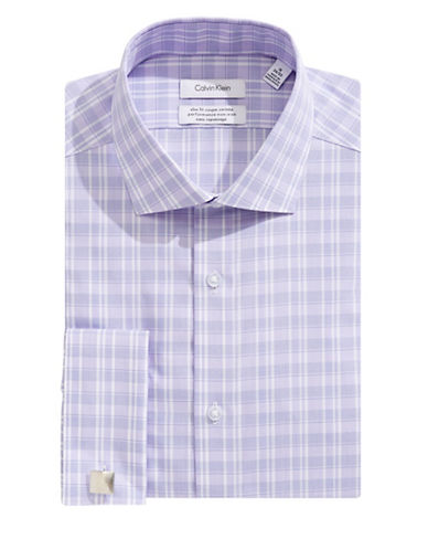 Calvin Klein Steel Slim-Fit Plaid French Cuff Dress Shirt-PURPLE-17.5-34/35