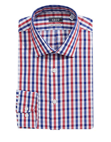 Izod Slim Fit Wrinkle Free Plaid Dress Shirt-RIVER BLUE-17.5-34/35
