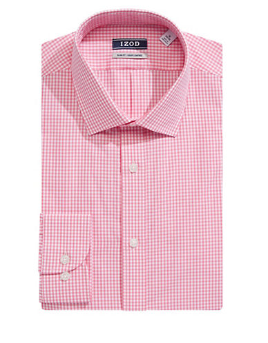 Izod Slim Fit Wrinkle Free Gingham Dress Shirt-PINK-17.5-32/33