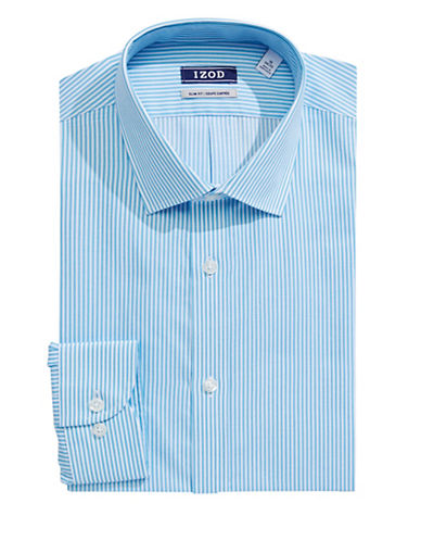 Izod Slim Fit Wrinkle Free Striped Dress Shirt-BLUE-17-34/35