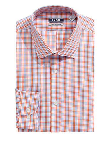 Izod Slim Fit Wrinkle Free Plaid Dress Shirt-TANGERINE-17-34/35