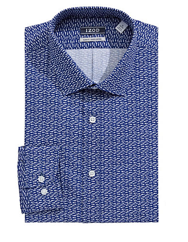 Izod Slim Fit Wrinkle Free Marine Print Dress Shirt-NAVY-17.5-34/35