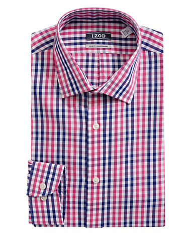 Izod Long Sleeve Slim Fit Check Shirt-MAGENTA-15.5-32/33