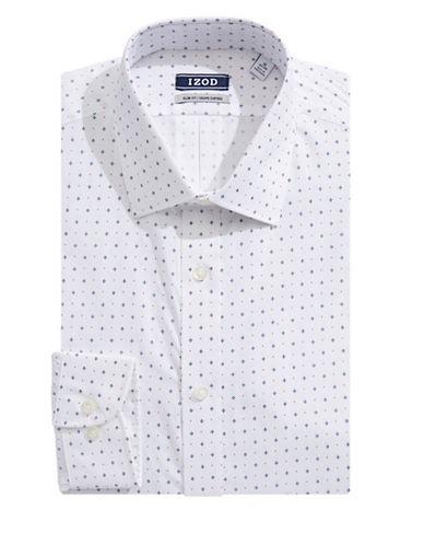 Izod Long Sleeve Slim Fit Print Shirt-RED MULTI-17.5-32/33