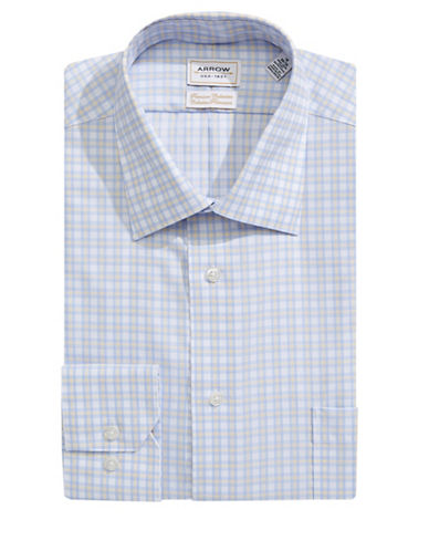Arrow Classic Fit Non Iron Plaid Dress Shirt-YELLOW-15.5-32/33
