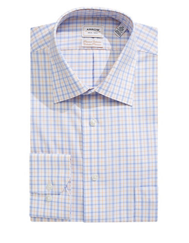 Arrow Classic Fit Non Iron Plaid Dress Shirt-CORN FLOWER-16-34/35