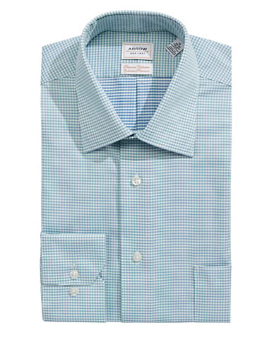 Arrow Classic Fit Non Iron Gingham Dress Shirt-GREEN-16.5-32/33