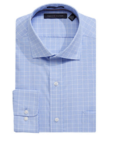 Tommy Hilfiger Woven Check Dress Shirt-BLUE-14-32/33