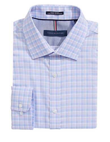 Tommy Hilfiger Slim Fit Non Iron Plaid Dress Shirt-TULIP-17.5-32/33