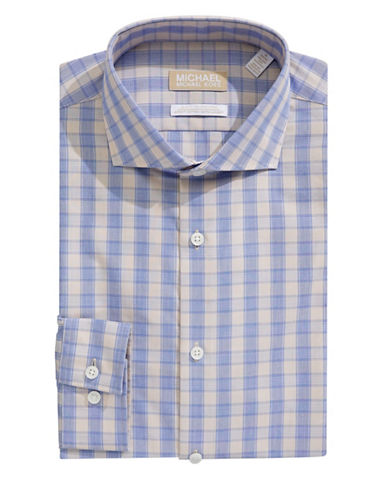 Michael Michael Kors Slim-Fit Plaid Dress Shirt-BEIGE-16-32/33