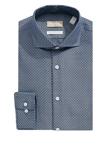 Michael Michael Kors Slim-Fit Dotted Dress Shirt-BLUE-17.5-32/33