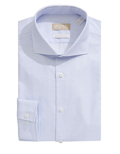 Michael Michael Kors Slim-Fit Printed Dress Shirt-BLUE-18.5-34/35