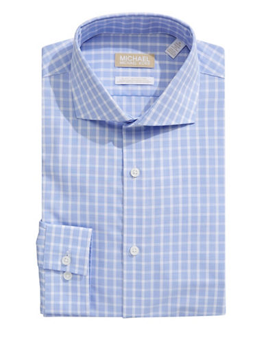 Michael Michael Kors Slim-Fit Plaid Dress Shirt-TEAL-16-32/33