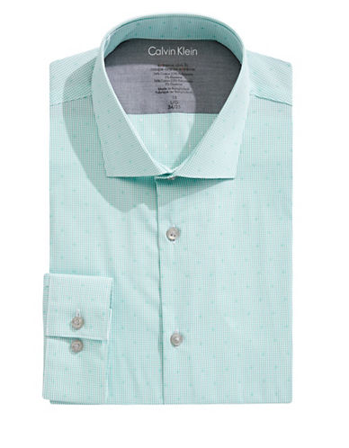 Calvin Klein Grid Check X-Fit Slim Dress Shirt-GREEN-17.5-34/35