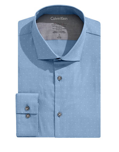 Calvin Klein Diamond X-Fit Slim Dress Shirt-BLUE-17.5-32/33