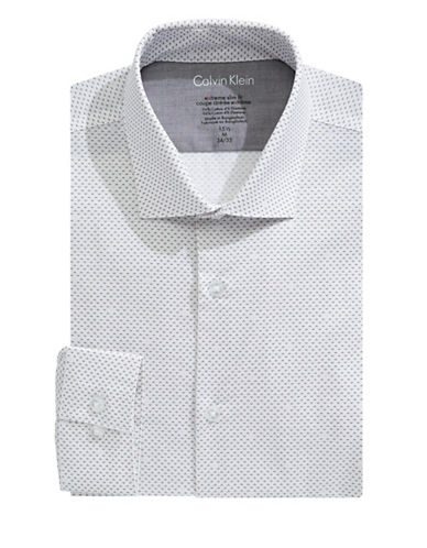 Calvin Klein Extreme Slim Fit Printed Dress Shirt-WHITE/BLACK-17.5-32/33