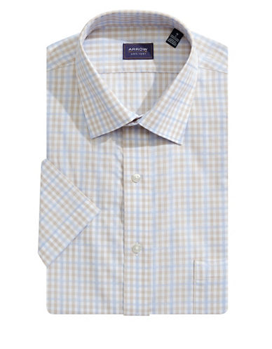 Arrow Short Sleeve Broadcloth Check Dress Shirt-BEIGE-16
