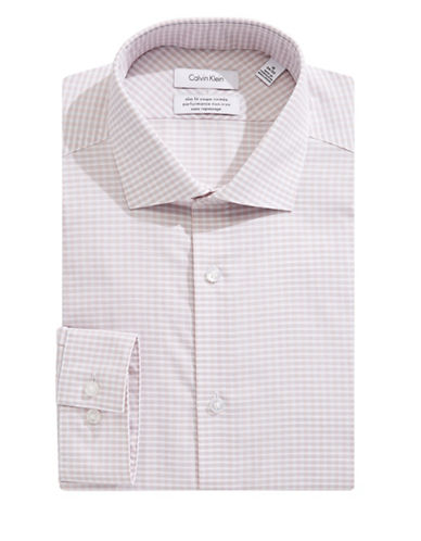 Calvin Klein Steel Slim-Fit Plaid Dress Shirt-WHITE/ORANGE-18.5-34/35
