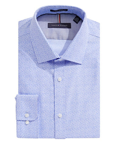 Tommy Hilfiger Floral Slim-Fit Non-Iron Dress Shirt-BLUE-17.5-32/33