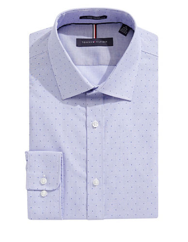 Tommy Hilfiger Dot Grid Slim-Fit Non-Iron Dress Shirt-BLUE-17.5-32/33