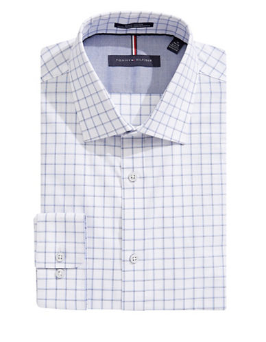 Tommy Hilfiger Grid Check Slim-Fit Non-Iron Dress Shirt-BLUE-18-34/35