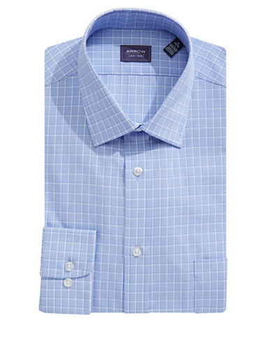 Arrow Classic-Fit Houndstooth Plaid Dress Shirt-STEEL BLUE-17.5-32/33