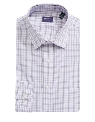 Arrow Classic-Fit Plaid Dress Shirt-PURPLE-17-34/35